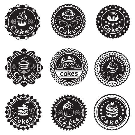 pastry shop: collection of various cupcakes labels
