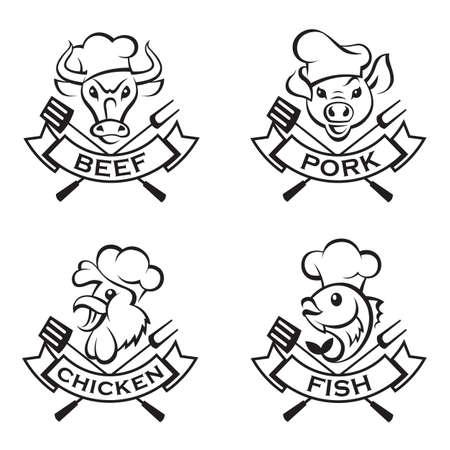 k�che: Sammlung von Etiketten Grill