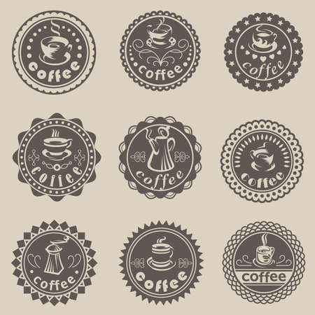 Set of nine coffee labels Vector