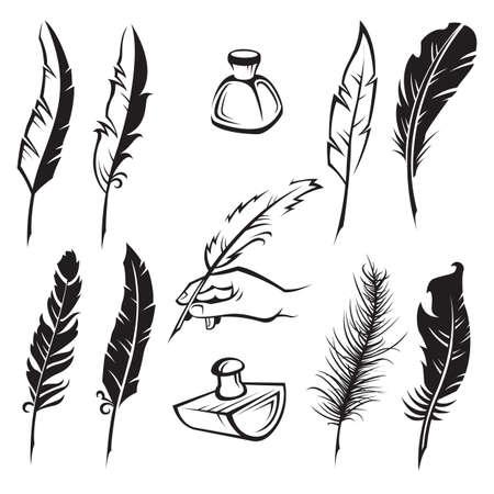 pluma de escribir antigua: Conjunto de plumas de plumas blanco y negro Vectores