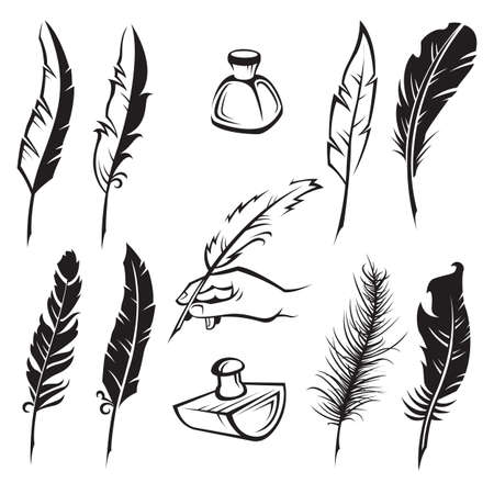 set of monochrome feather pens Stock Vector - 24590760