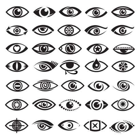 globo ocular: colección de treinta y cinco en blanco y negro iconos de ojos