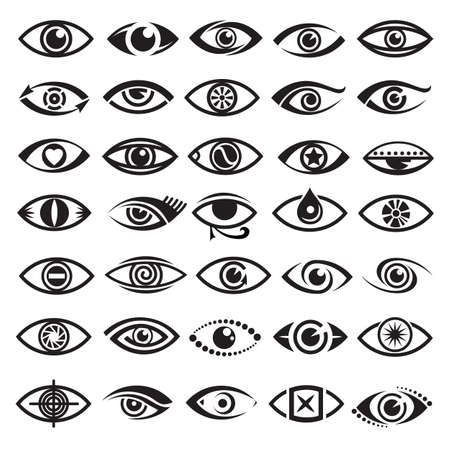 eye lens: collection of thirty five monochrome eyes icons