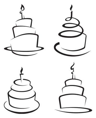 4 つのケーキのモノクローム ・ セット  イラスト・ベクター素材