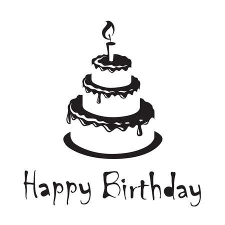 monochrome design of birthday cakes 矢量图像