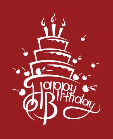 pastel de cumpleaños: pastel de cumpleaños Vectores