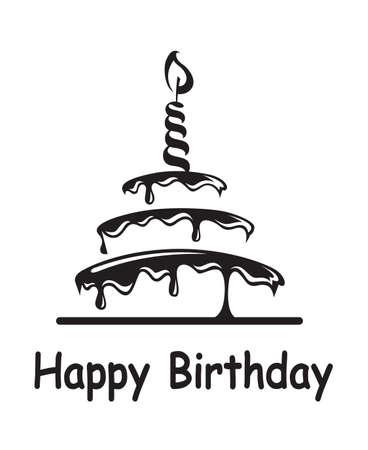 decoracion de pasteles: pastel de cumpleaños Vectores