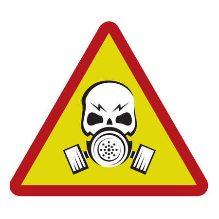 chemical weapons: danger sign with gas mask Illustration