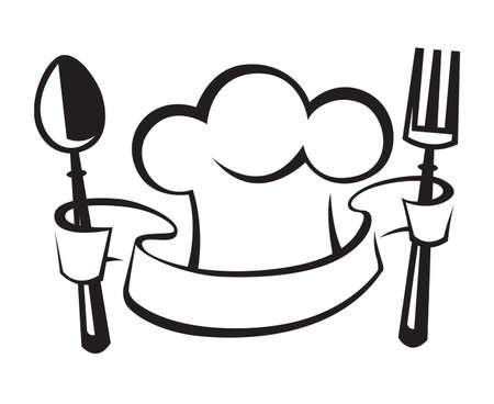 Chef cappello, cucchiaio e forchetta Archivio Fotografico - 26621013