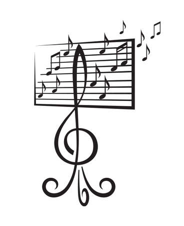 music stand: music stand in the form of a treble clef Illustration