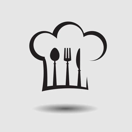 fine cuisine: cappello da cuoco con cucchiaio, forchetta e coltello
