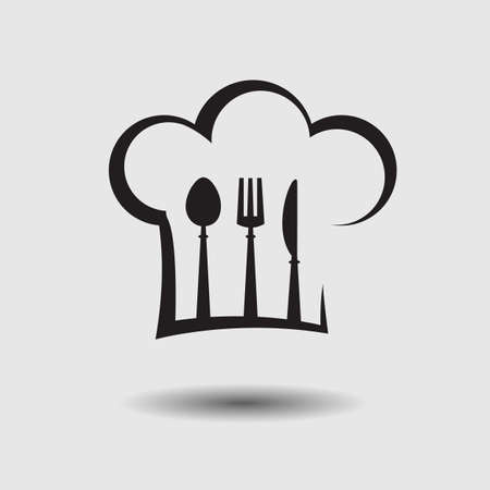 fine cuisine: chef hat with spoon, knife and fork Illustration