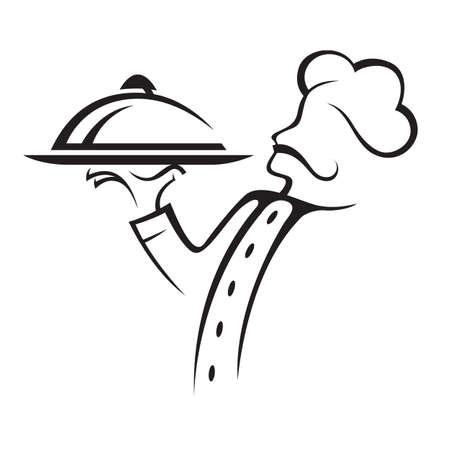 k�che: Koch mit Tablett mit Essen in der Hand