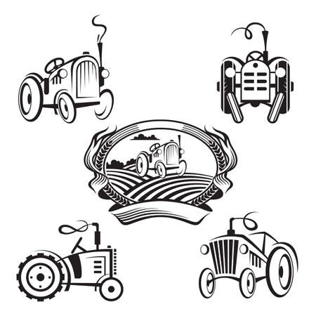 agriculture field: set of tractors Illustration