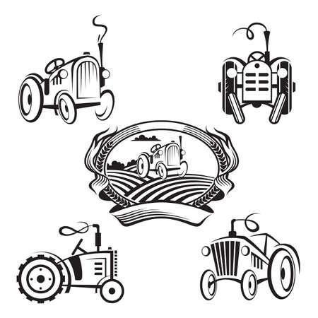 set of tractors Illustration