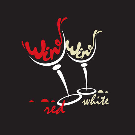 wineglasses: glasses with red and white wine