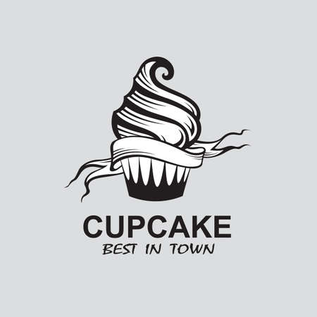 monochrome image of cupcake with ribbon  Vector