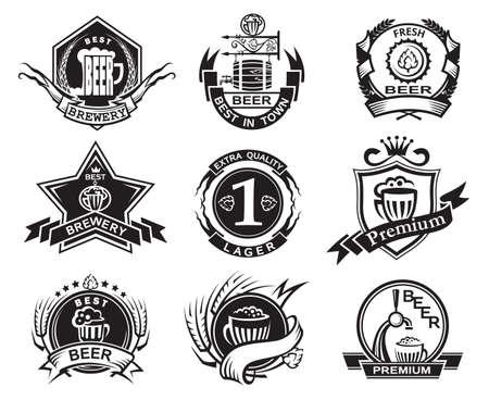 set of nine monochrome beer labels Vector