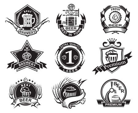 taverns: set of nine monochrome beer labels Illustration