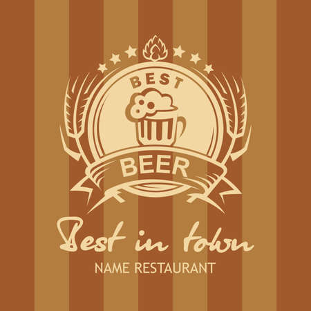 banner with beer label Vector
