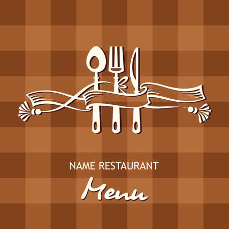 menu tool: menu banner with spoon, fork and knife Illustration
