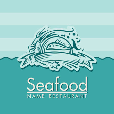 fish type: seafood menu design Illustration