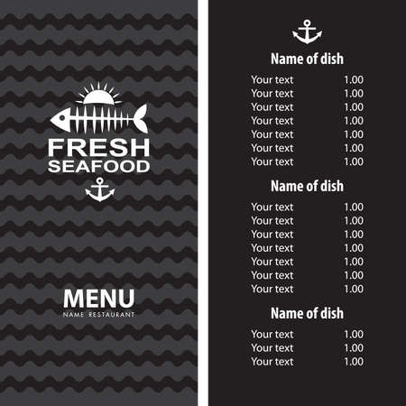 seafood menu design Vector