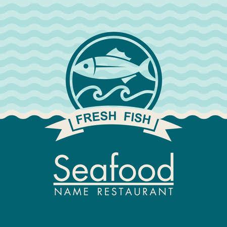 seafood menu design Illustration