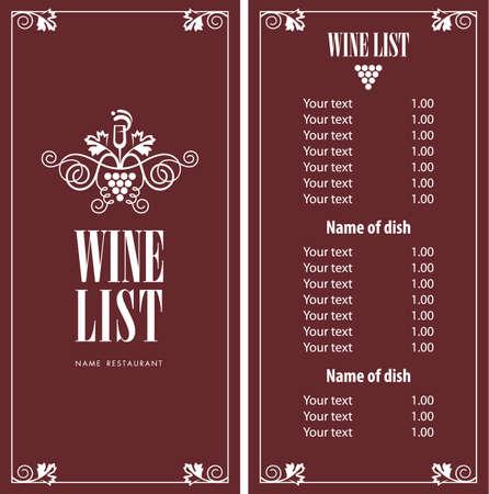 illustration de la liste de menu de vin Vecteurs