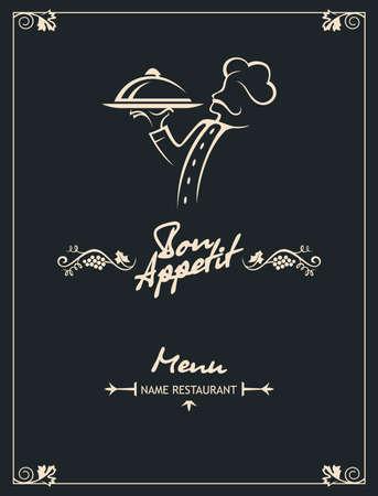 chef menu design on a black background, vector illustration Vector