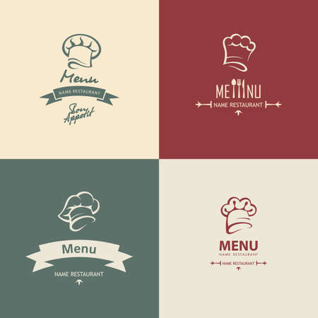 set of four chef menu design Vector