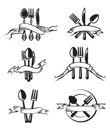 monochrome illustrations set of knife, fork and spoon Vettoriali