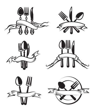 monochrome illustrations set of knife, fork and spoon Illustration