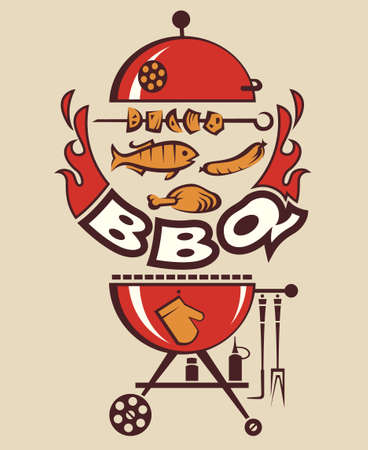 charcoal grill: grill menu card design, vector illustration