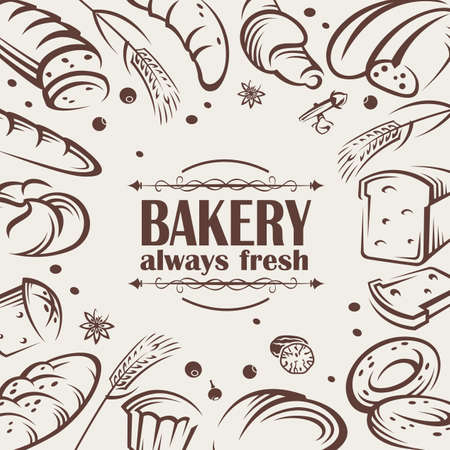 toasted: vector icons of different kinds of bread