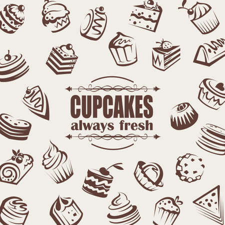background with collection of cakes and cupcakes Vector