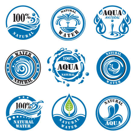 set of nine water labels