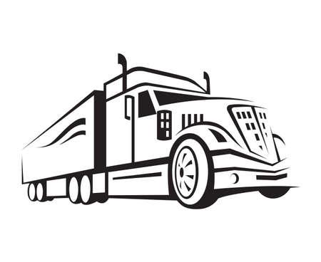 トラックのトレーラーの白黒イラスト
