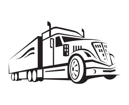 truck engine: monochrome illustration of a truck with trailer