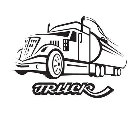ilustración monocromo de camión de combustible con cisterna Vectores