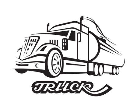 monochrome illustration of fuel truck with cistern Vector