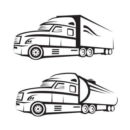 monochrome set van een vrachtwagen met aanhangwagen en tank truck