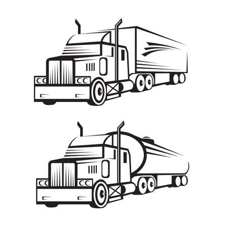 monochrome set of a truck with trailer and tank truck Vector