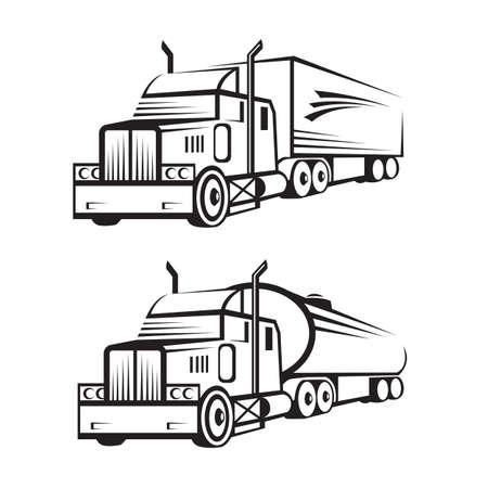 monochrome set van een vrachtwagen met aanhangwagen en tank truck Vector Illustratie