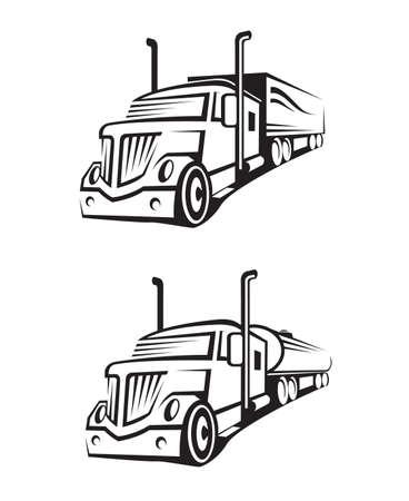 camión cisterna: conjunto monocromático de un camión con remolque y camión cisterna