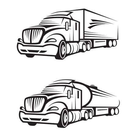 semi truck: conjunto monocrom�tico de un cami�n con remolque y cami�n cisterna