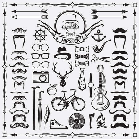 vidrio: conjunto de elementos de estilo inconformista de época Vectores