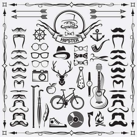 set of vintage hipster style elements Иллюстрация