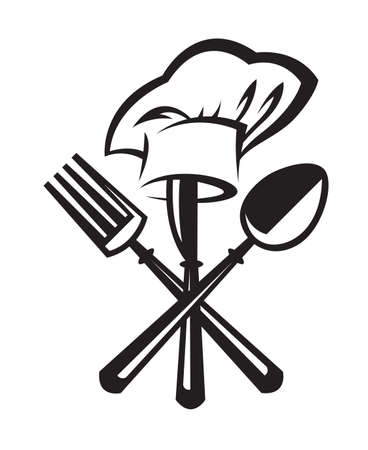 monochrome illustrations set of knife, fork and spoon Иллюстрация