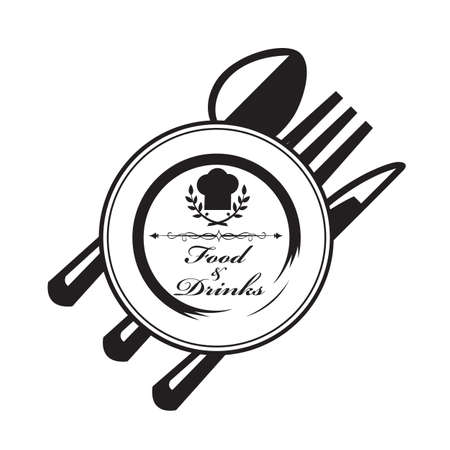 place setting: knife, fork, spoon and plate Illustration